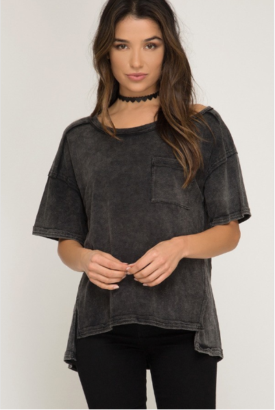 Washed Slash Neck Tee - Blush Boutique