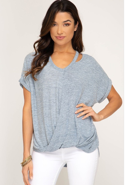 Knit Top with Neck Cut Out - Blush Boutique