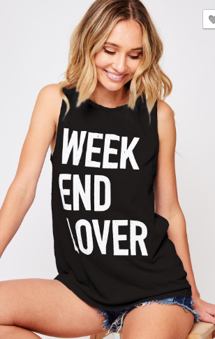 """Weekend Lover"" Tank - Blush Boutique"