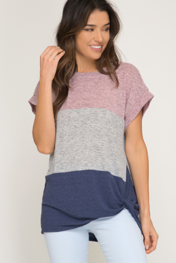 Color Blocked Knit Top - Blush Boutique