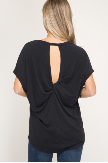 Back Twist Detail V-Neck Top - Blush Boutique