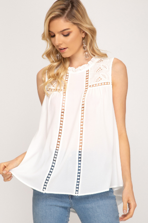 Eyelet Lace Trim Top - Blush Boutique
