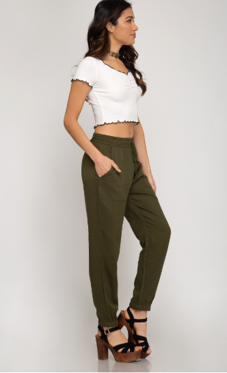 Woven Jogger Pants - Blush Boutique