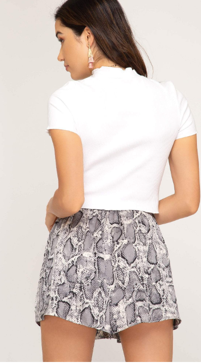 Snake Skin Print Shorts - Blush Boutique