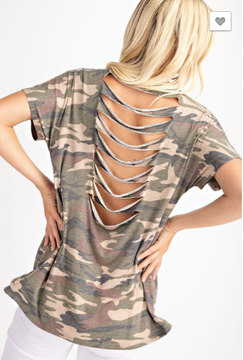 Laser Cut Back Camo Top - Blush Boutique