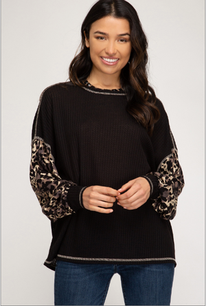 Leopard Sleeve Thermal Knit Top