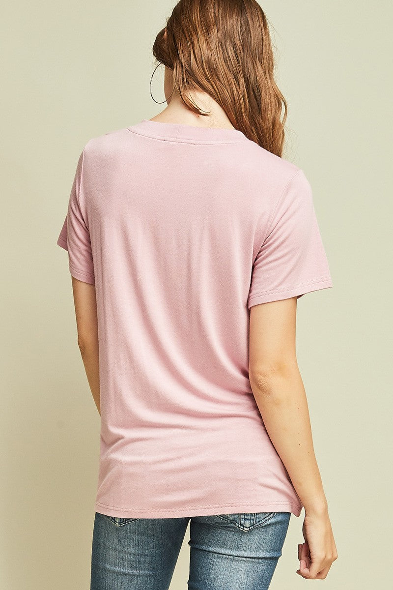 Lace-Up Neckline T-Shirt - Blush Boutique