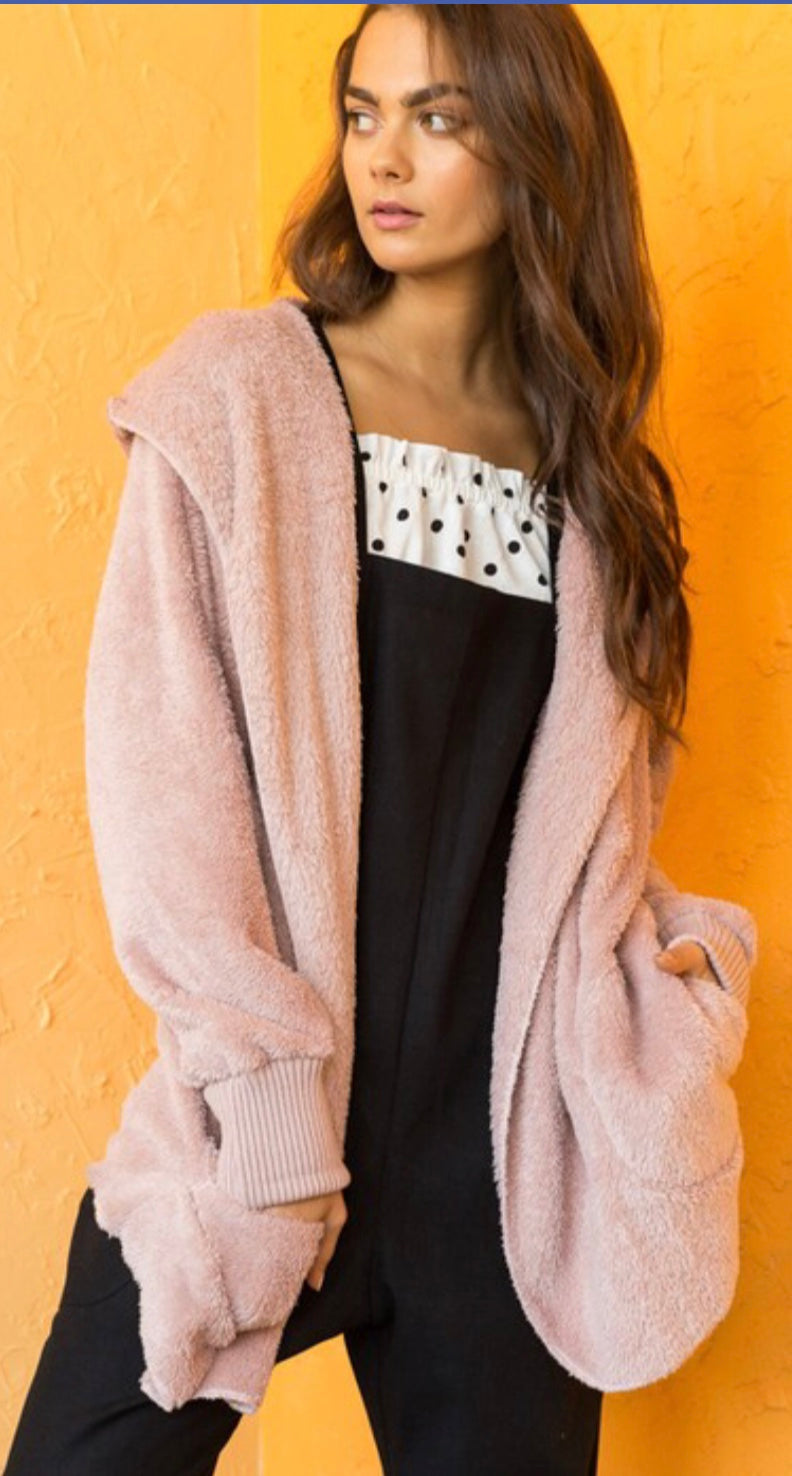 Mauve Bear Coat - Blush Boutique