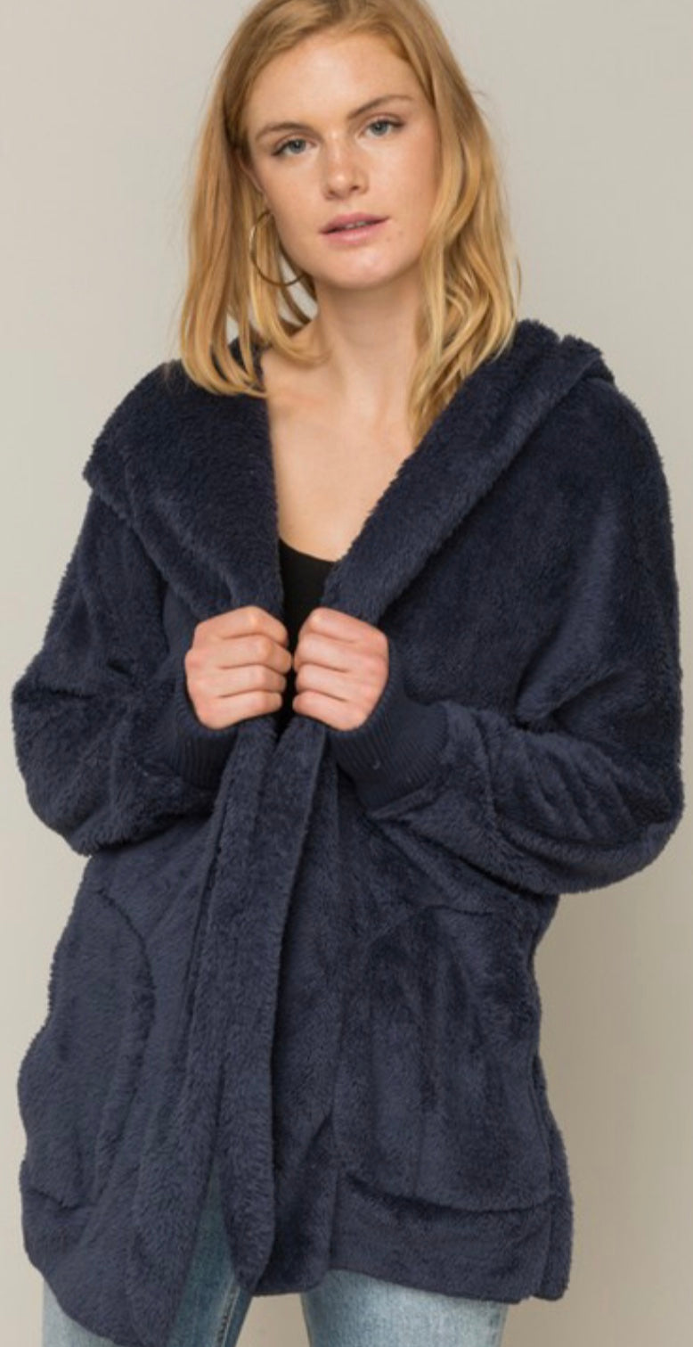 Navy Bear Coat - Blush Boutique
