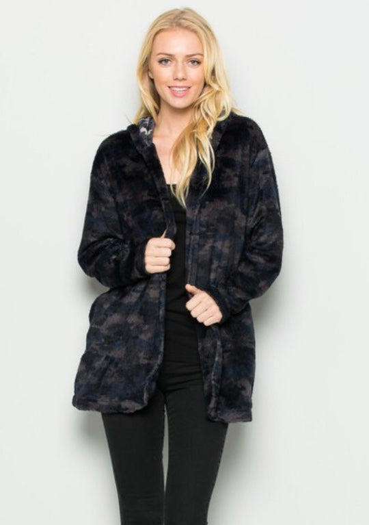 Camo Hooded Fur Cardigan - Blush Boutique