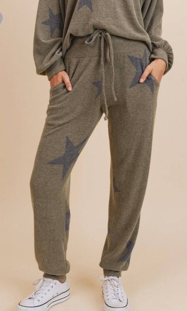 Star Print Joggers - Blush Boutique