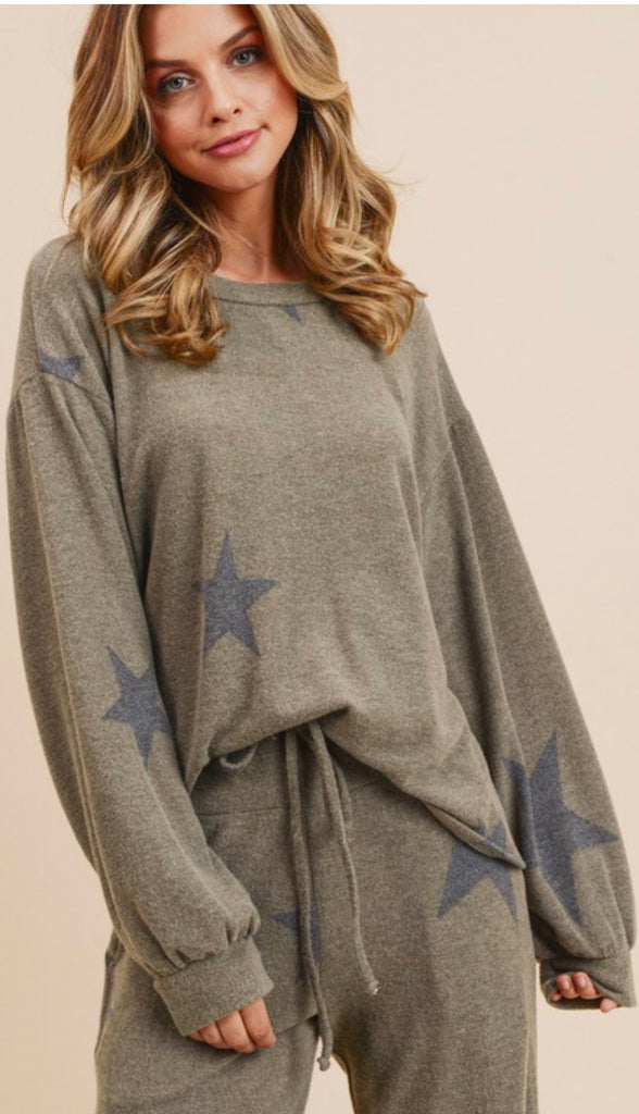 Star Print Sweatshirt - Blush Boutique