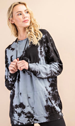 Tie Dye Hooded Sweatshirt - Black/Grey