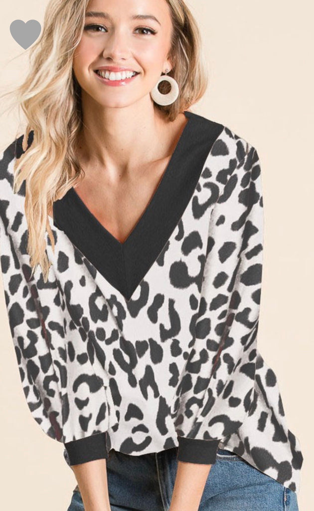 Leopard V-Neck Top - Blush Boutique