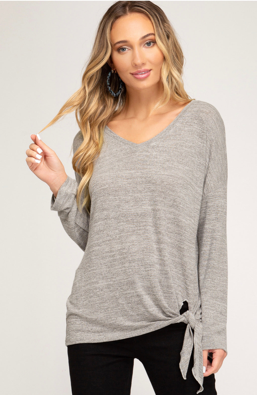 V-Neck Knit Top with Side Tie - Blush Boutique