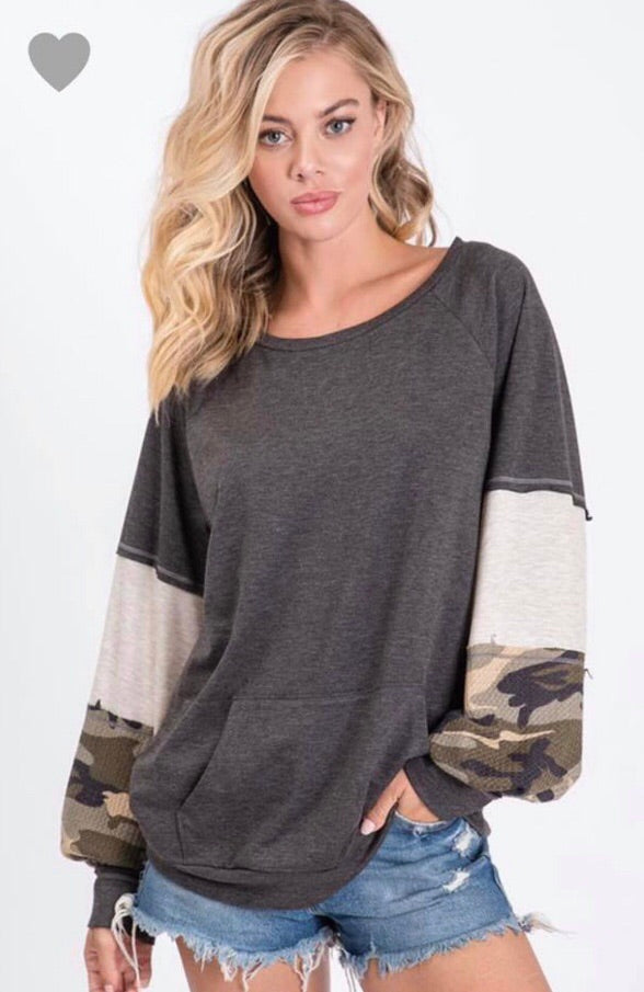 Preorder French Terry Pullover Top With Contrast Block Puff Sleeves - Blush Boutique