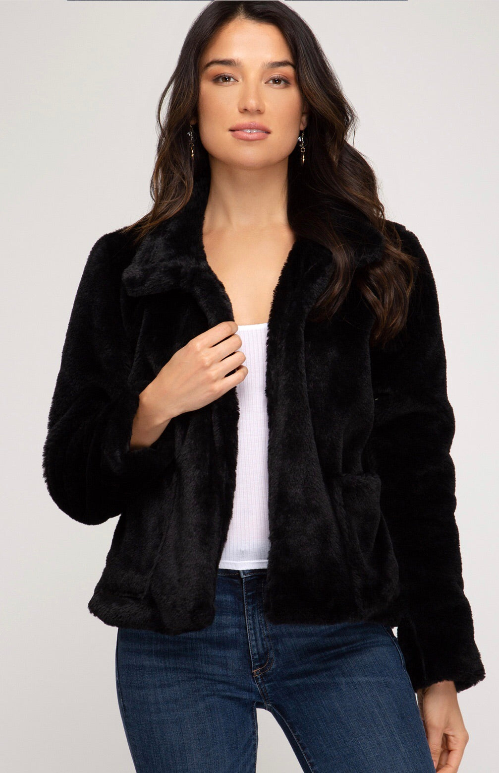 Cropped Faux Fur Jacket - Blush Boutique