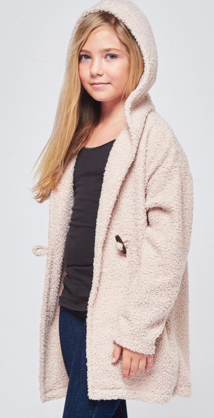 Girls Hooded Fuzzy Cardigan - Blush Boutique