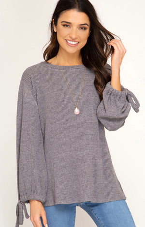 Bubble Sleeve Knit Top - Blush Boutique