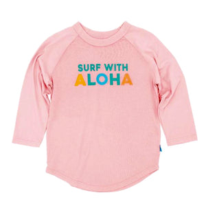 SURF WITH ALOHA RAGLAN SLEEVE PINK