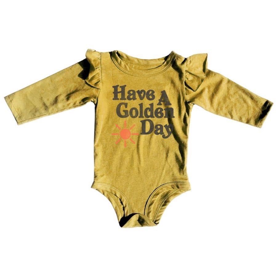 BABY HAVE A GOLDEN DAY RUFFLE ONESIE 6 - 12 MONTHS