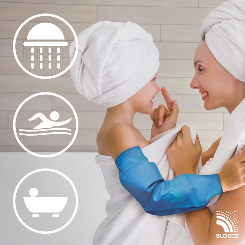 Bloccs waterproof elbow protectors can be worn in the shower, bath or pool