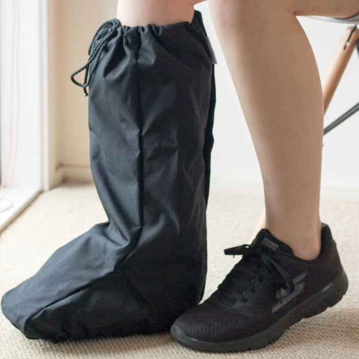 Waterproof walking boot cover closeup