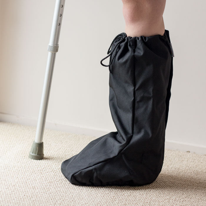 Waterproof walking boot cover side view on model
