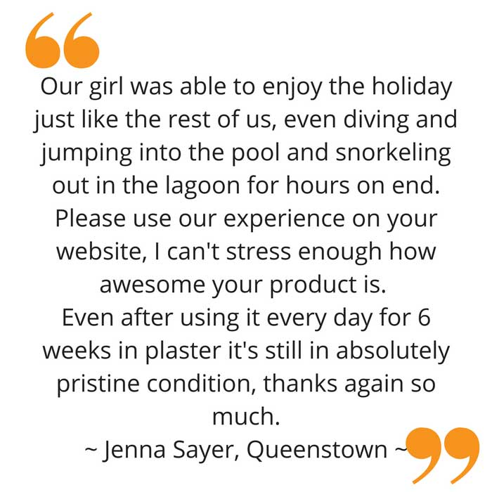 Jenna's waterproof arm cast protector feedback