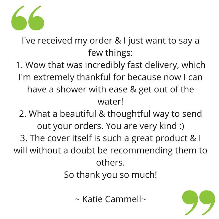Katie's feedback on her bloccs waterproof sleeve for arm cast
