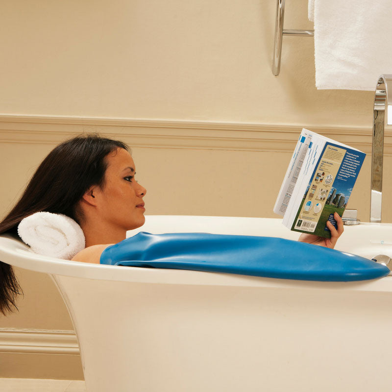 Women wearing waterproof arm protector cast in bath