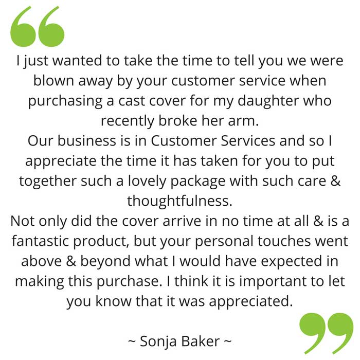 Sonja's feedback on bloccs waterproof sleeve for arm cast