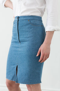 Midi denim skirt, slightly distressed, pencil skirt, cotton, blue denim