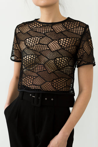 Black mesh cropped top, lace top, boxy