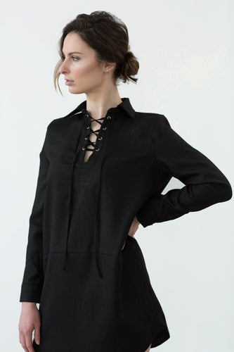 Linen dress, lace-up, little black dress, sexy, chic