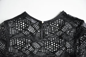 Black mesh cropped top, lace, boxy