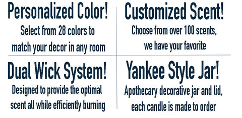Select custom personalized color and scent Yankee Candle Style Apothecary Jar