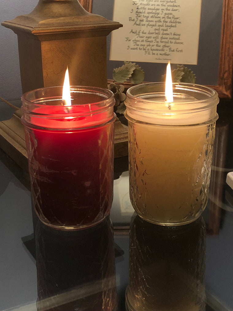 A 2-Set Small Mason Style Jar Candles - Custom Made Scent and Color to Order