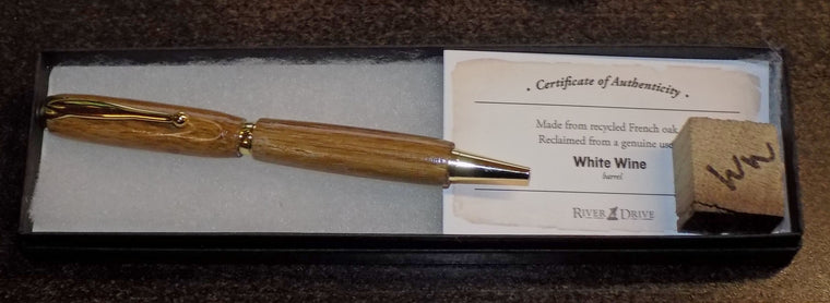 White Wine Barrel Pen w/ Authenticity Certificate