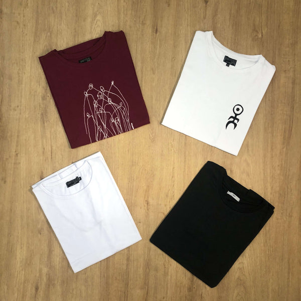 Outfit SNF 675 Pack 4 Remeras - Remera Basic - Remera Black - Remera Macondo Bordo - Remera Human Blanca