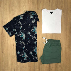 Outfit SNF 680 Short de baño Green - Camisa Blue FL - Remera Basic