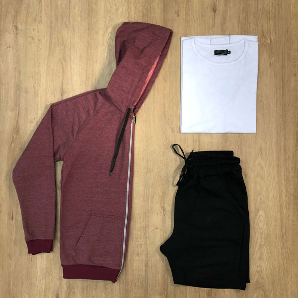 Outfit SNF 617 Short Black - Campera Vino - Remera Basic