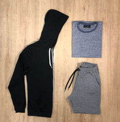 Outfit SNF 612 Short Mel - Campera Black - Remera Jasp