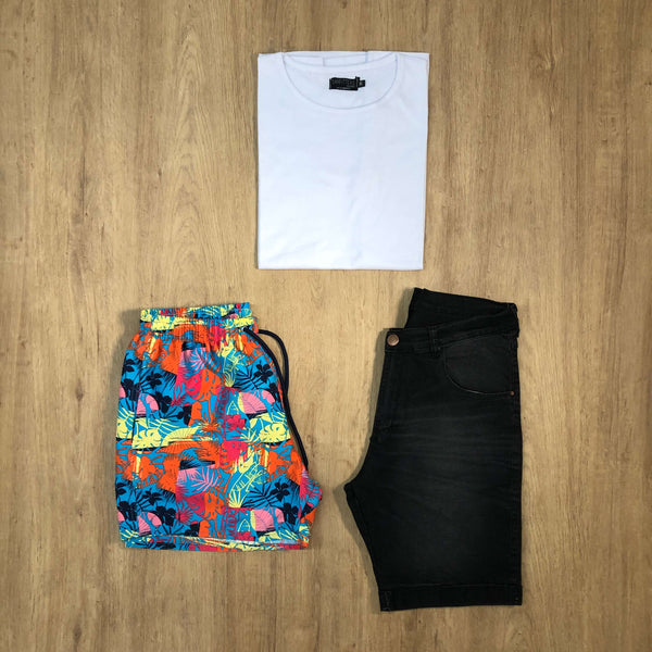 Outfit SNF 649 Bermuda Black - Short de baño colors - Remera Basic
