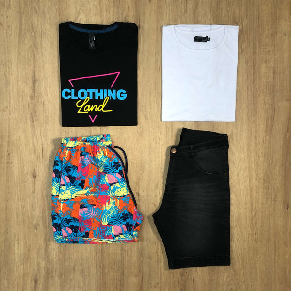 Outfit SNF 646 Bermuda Black - Short de baño colors - Remera Basic - Remera Est black