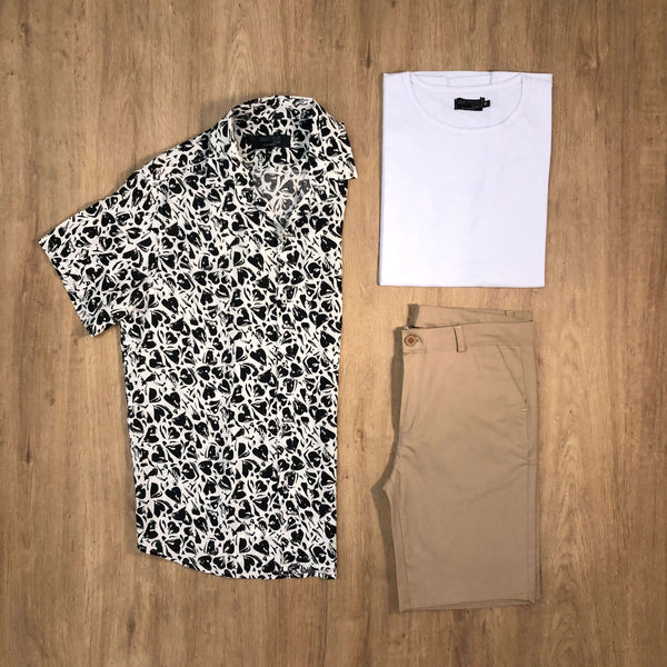 Outfit SNF 652 Bermuda Gabe Beige - Camisa Heart - Remera Basic