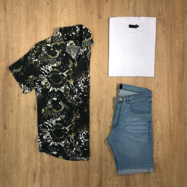 Outfit SNF 659 Bermuda Sky - Camisa Fireworks - Remera Basic
