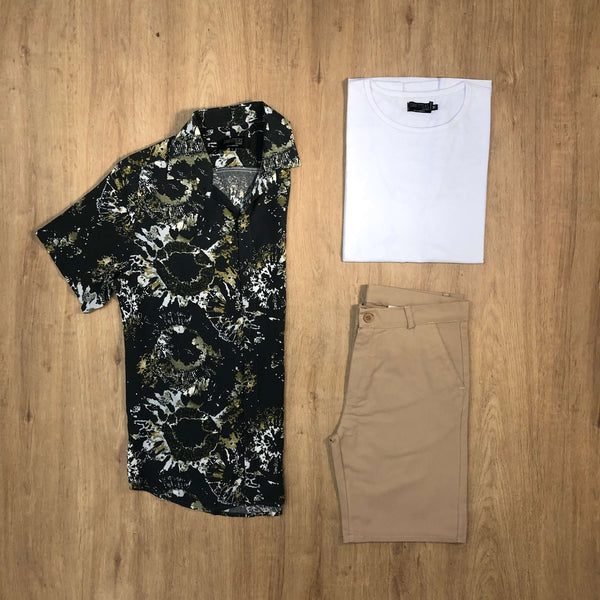 Outfit SNF 661 Bermuda Gabe Beige - Camisa Fireworks - Remera Basic
