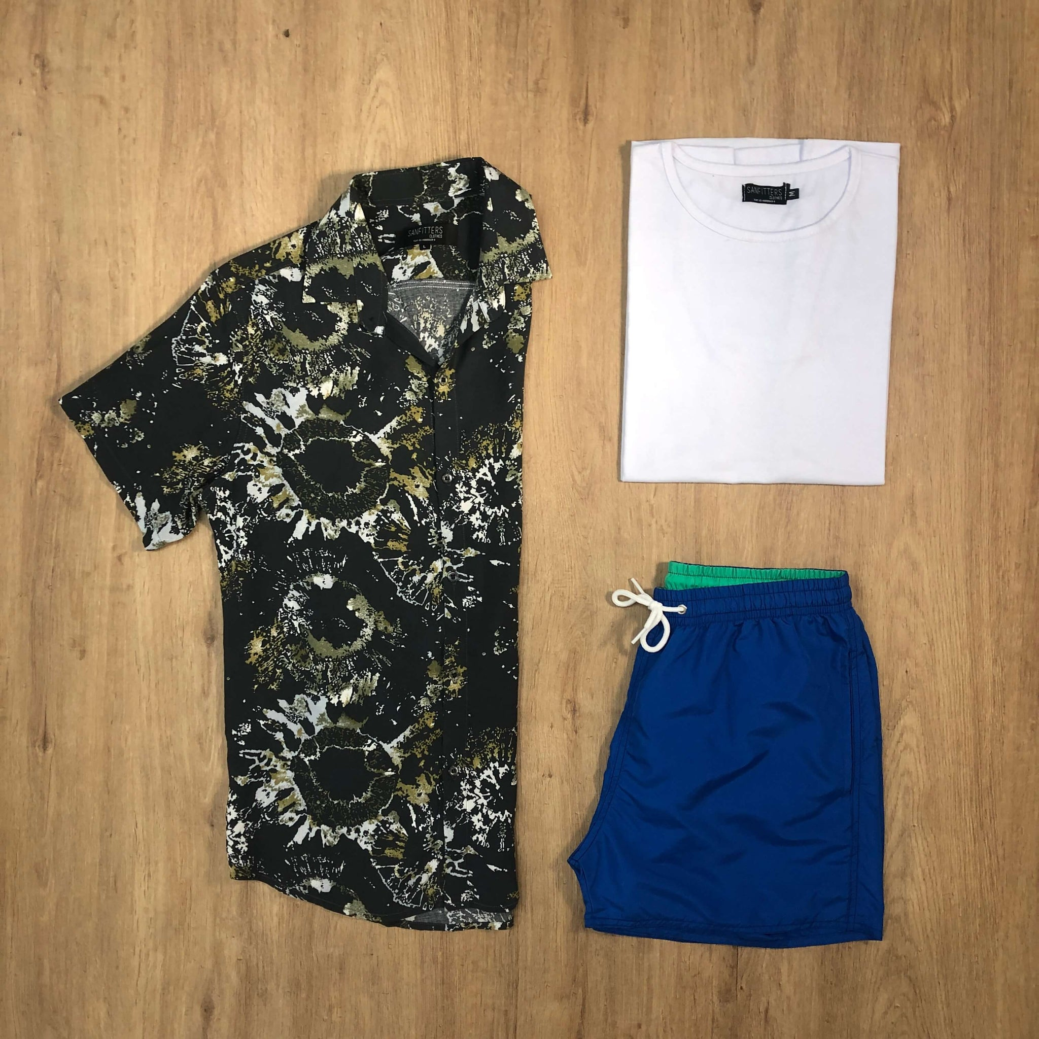 Outfit SNF 656 Short de baño Francia - Camisa Fireworks - Remera Basic