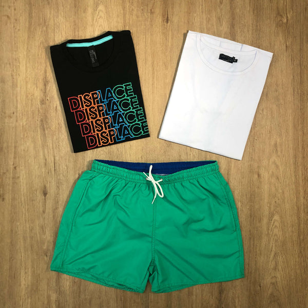 Outfit SNF 660 Short de baño Green - Remera Basic - Remera Est Black